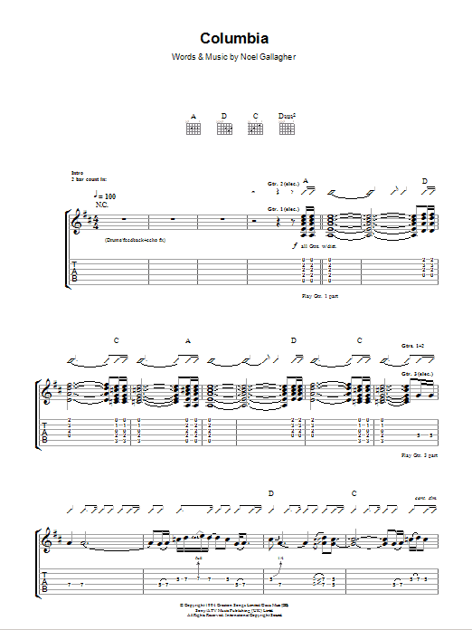 Columbia sheet music for guitar solo (tablature) by Noel Gallagher