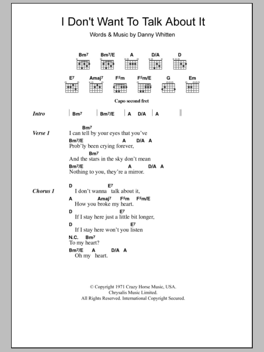 I Don't Want To Talk About It sheet music for guitar solo (chords, lyrics, melody) by Danny Whitten