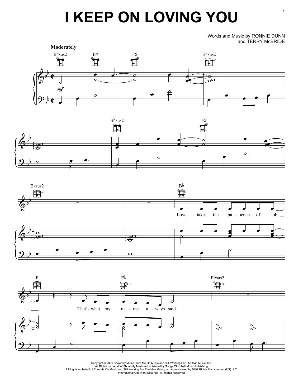 Partition piano I Keep On Loving You de Reba McEntire - Piano Voix Guitare (Mélodie Main Droite)
