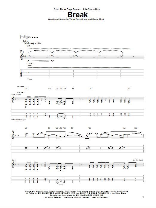 Tablature guitare Break de Three Days Grace - Tablature Guitare