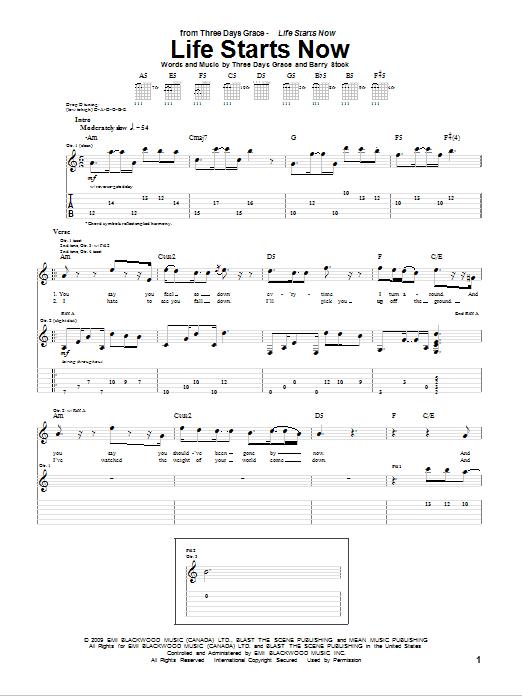Tablature guitare Life Starts Now de Three Days Grace - Tablature Guitare