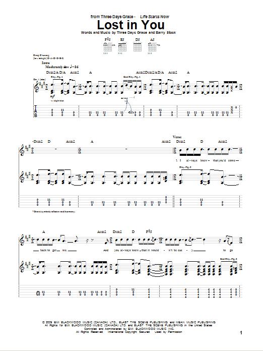Tablature guitare Lost In You de Three Days Grace - Tablature Guitare