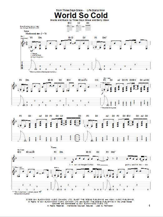 Tablature guitare World So Cold de Three Days Grace - Tablature Guitare