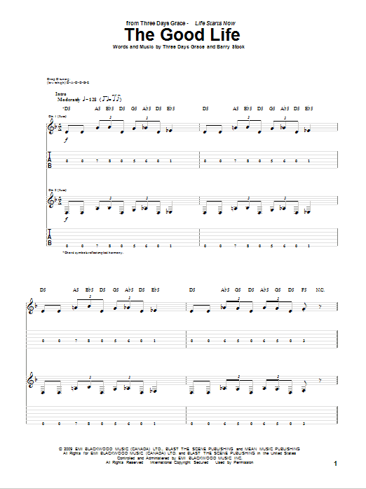 Tablature guitare The Good Life de Three Days Grace - Tablature Guitare