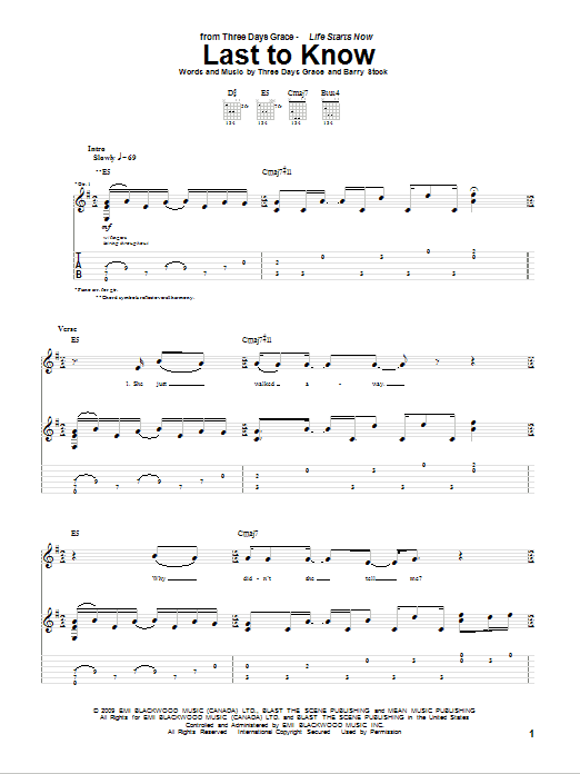 Tablature guitare Last To Know de Three Days Grace - Tablature Guitare