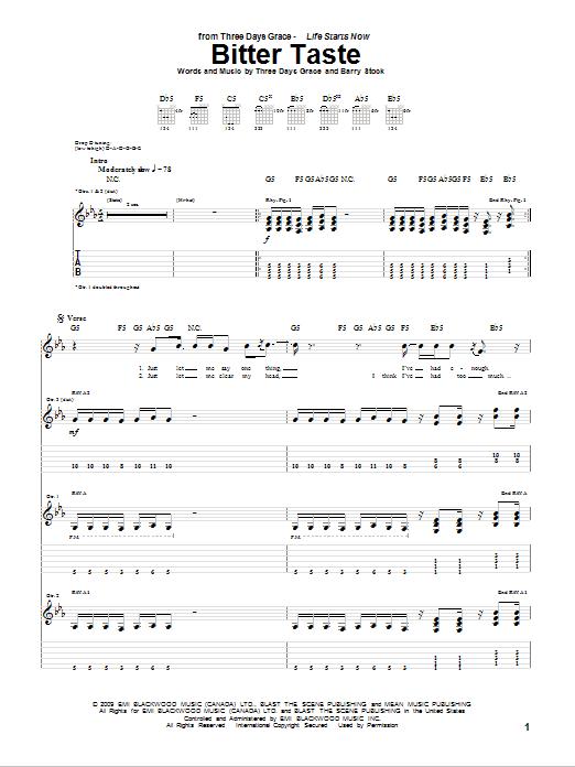 Tablature guitare Bitter Taste de Three Days Grace - Tablature Guitare