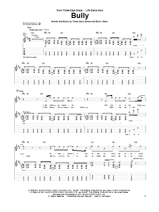 Tablature guitare Bully de Three Days Grace - Tablature Guitare