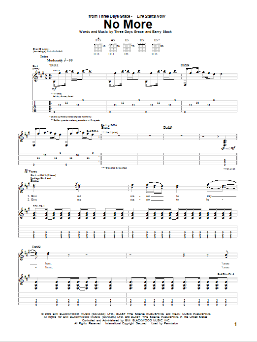 Tablature guitare No More de Three Days Grace - Tablature Guitare