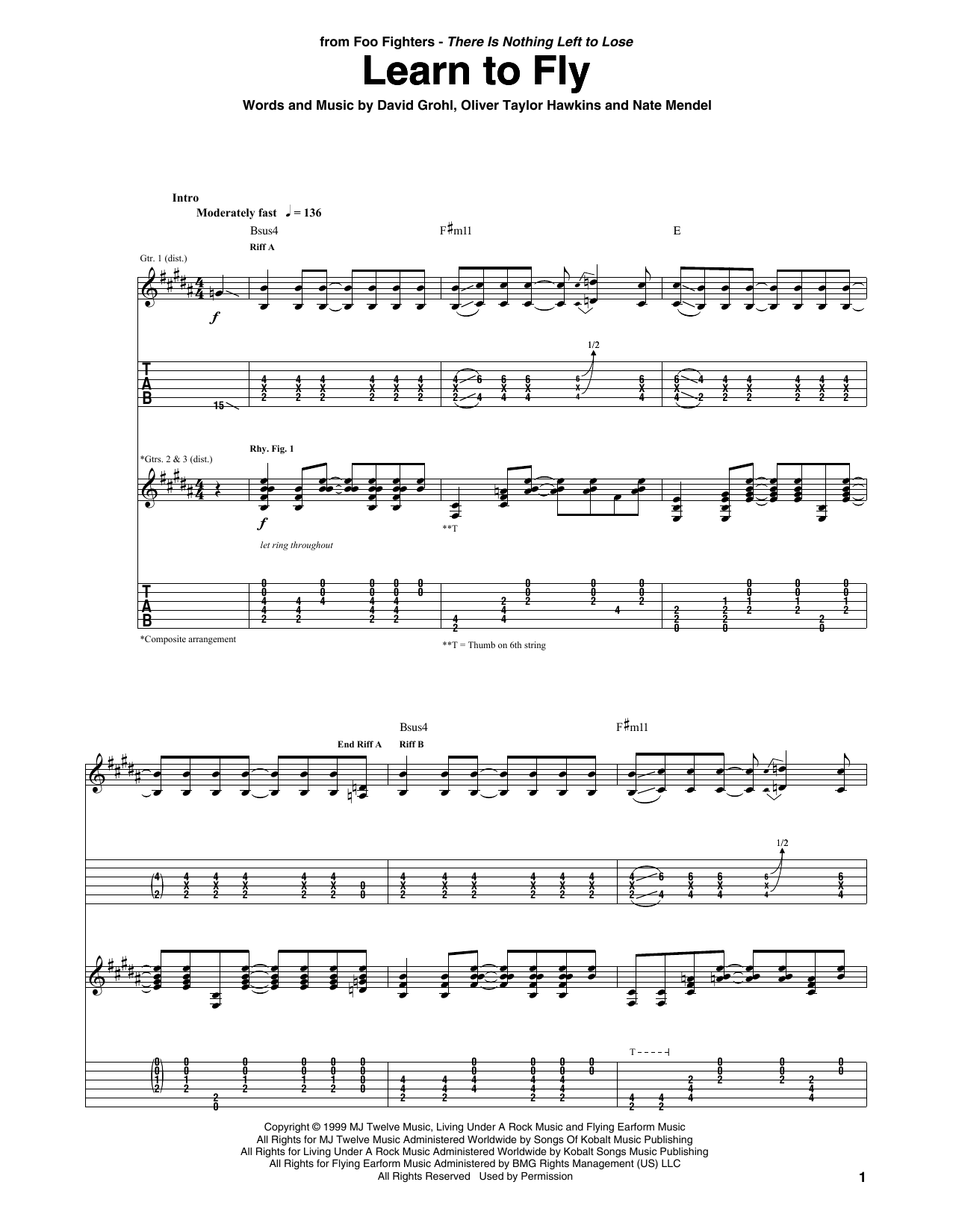 Tablature guitare Learn To Fly de Foo Fighters - Tablature Guitare
