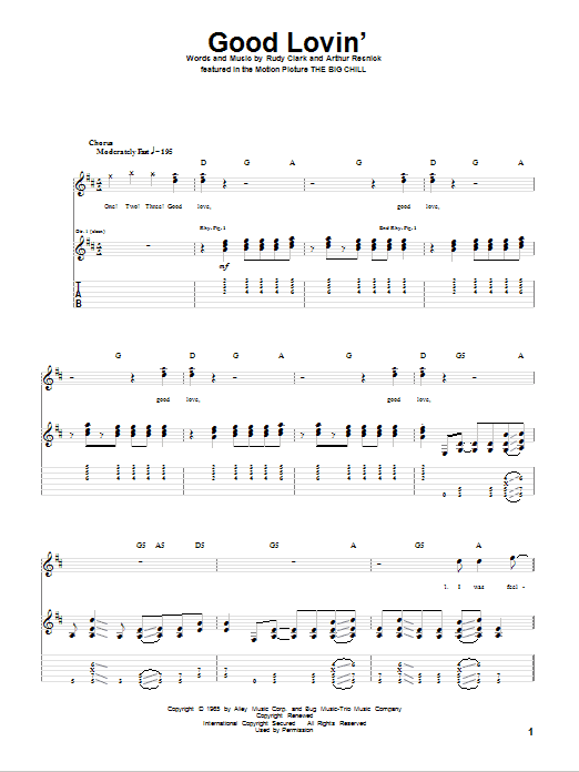 Good Lovin' sheet music for guitar solo (tablature) by Rudy Clark
