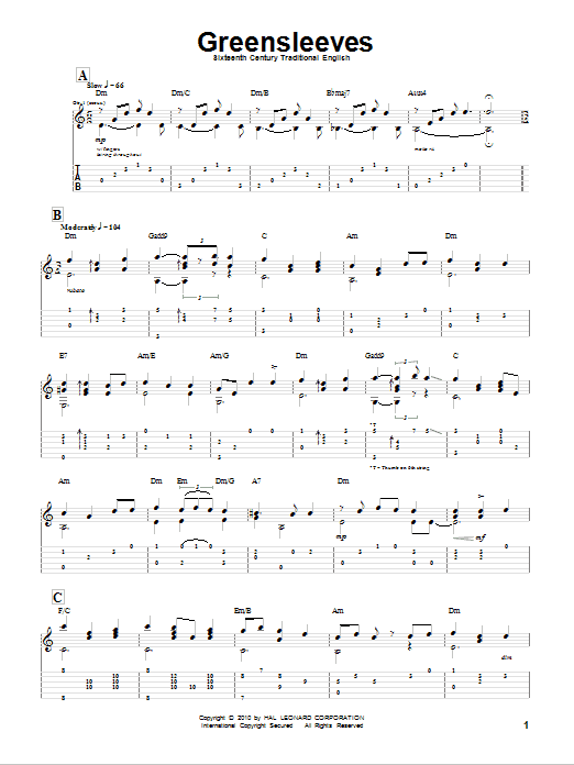 Greensleeves by Traditional English Folksong - Guitar Tab - Guitar Instructor