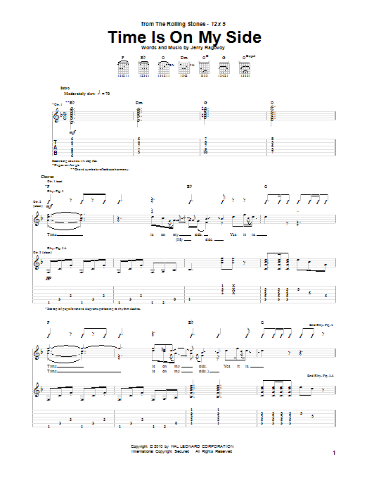 Tablature guitare Time Is On My Side de The Rolling Stones - Tablature Guitare