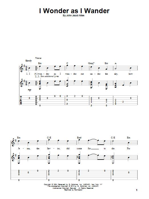 Tablature guitare I Wonder As I Wander de John Jacob Niles - Tablature Guitare