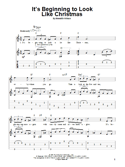 Tablature guitare It's Beginning To Look Like Christmas de Meredith Willson - Tablature Guitare