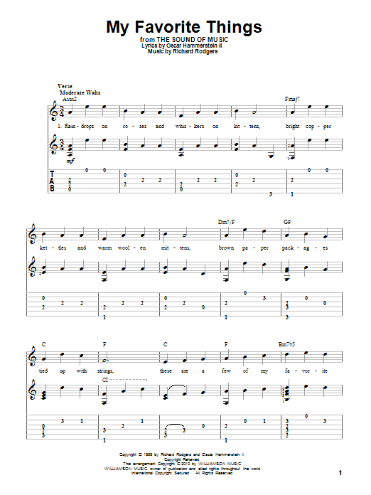 Tablature guitare My Favorite Things (from The Sound Of Music) de Rodgers & Hammerstein - Tablature Guitare