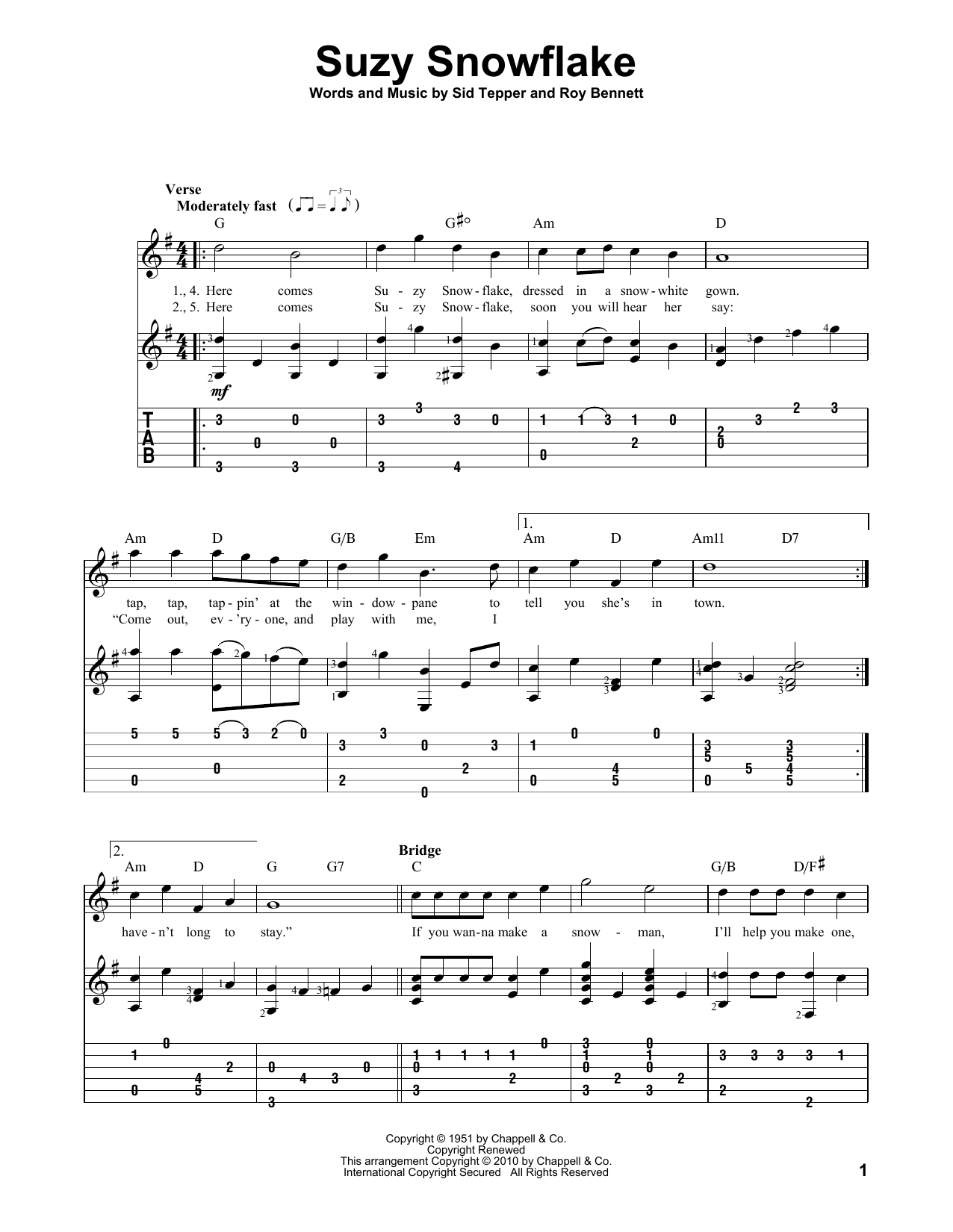 Tablature guitare Suzy Snowflake de Rosemary Clooney - Tablature Guitare