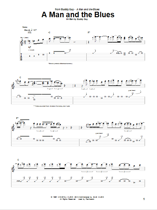 Tablature guitare A Man And The Blues de Buddy Guy - Tablature Guitare