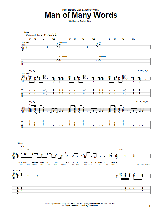Tablature guitare Man Of Many Words de Buddy Guy - Tablature Guitare