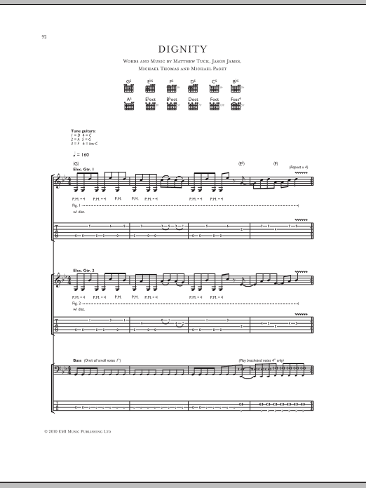 Dignity sheet music for guitar solo (tablature) by Michael Thomas