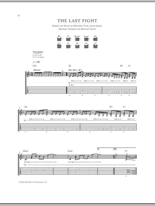 The Last Fight sheet music for guitar solo (tablature) by Michael Thomas