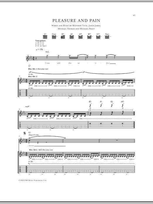 Tablature guitare Pleasure And Pain de Bullet For My Valentine - Tablature Guitare