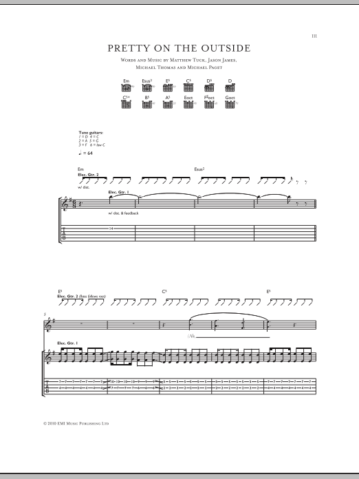 Pretty On The Outside sheet music for guitar solo (tablature) by Michael Thomas