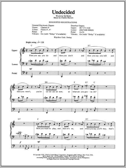 Undecided sheet music for organ solo by Sid Robin