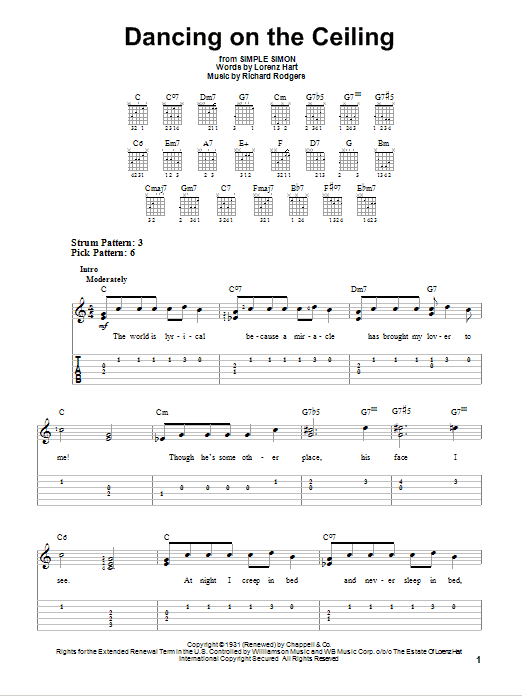 Tablature guitare Dancing On The Ceiling de Rodgers & Hart - Tablature guitare facile