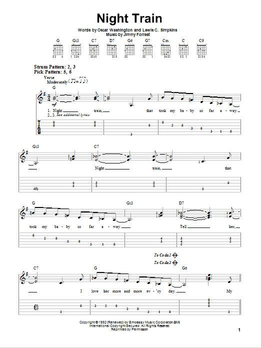 Night Train sheet music for guitar solo (easy tablature) by Oscar Washington