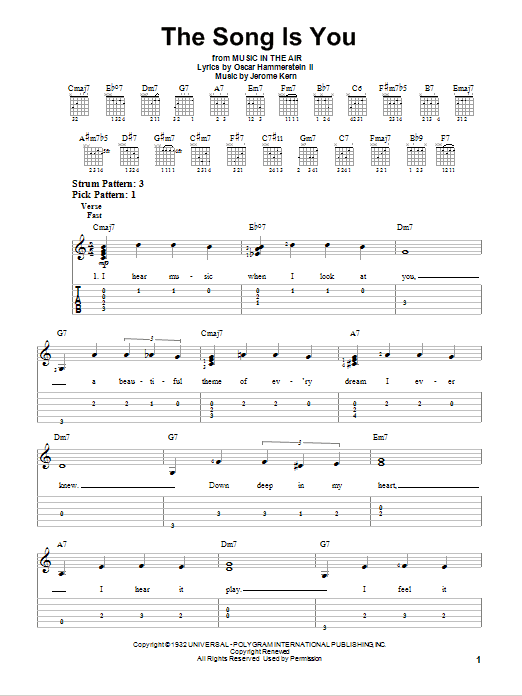 Tablature guitare The Song Is You de Jerome Kern - Tablature guitare facile