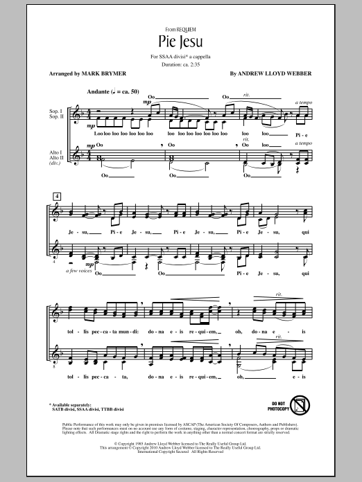 Pie Jesu (from Requiem) sheet music for choir and piano (SSA) by Andrew Lloyd Webber