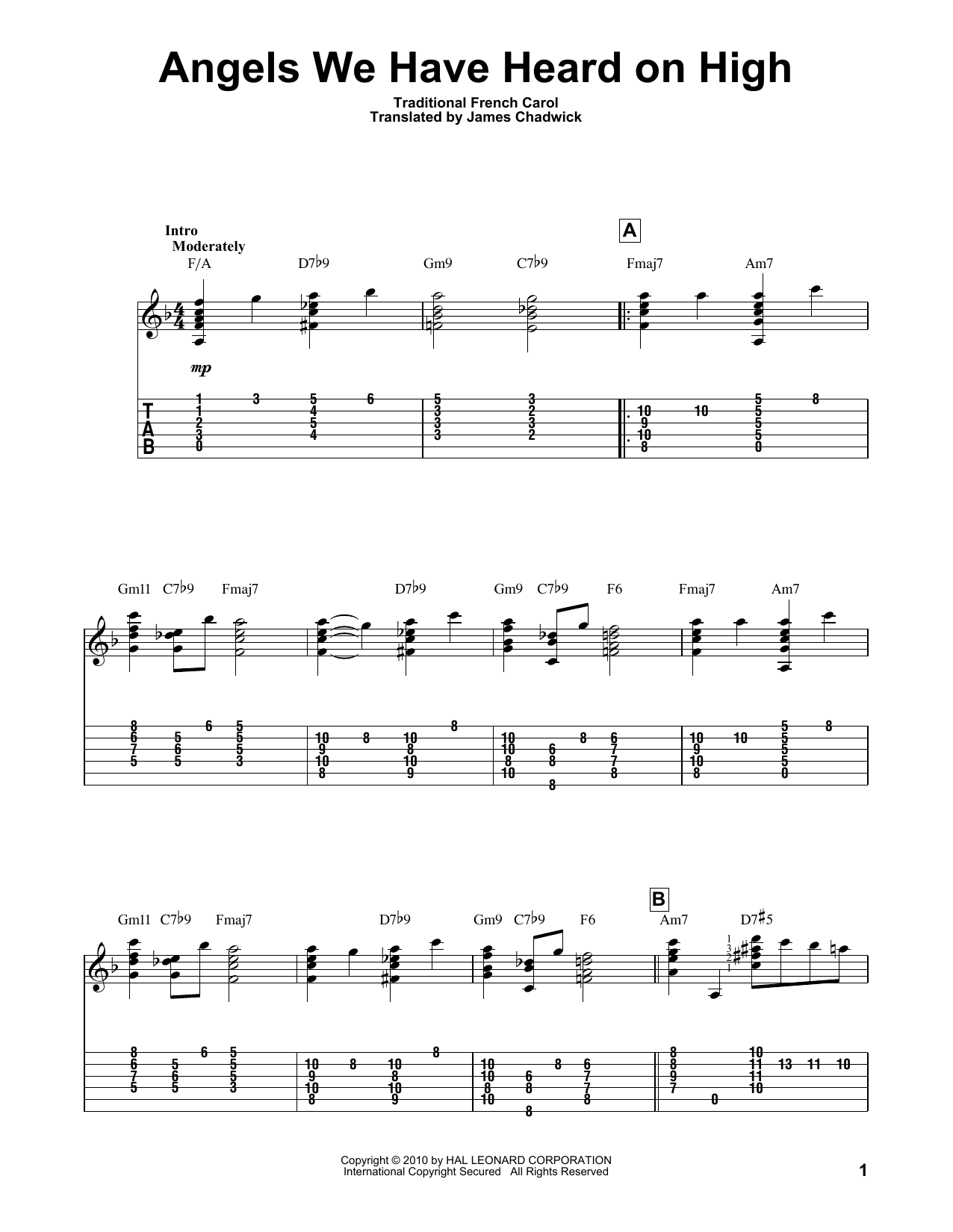 Tablature guitare Angels We Have Heard On High de Traditional French Carol - Tablature Guitare