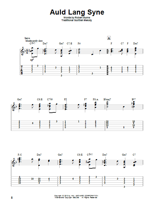 Tablature guitare Auld Lang Syne de Robert Burns - Tablature Guitare