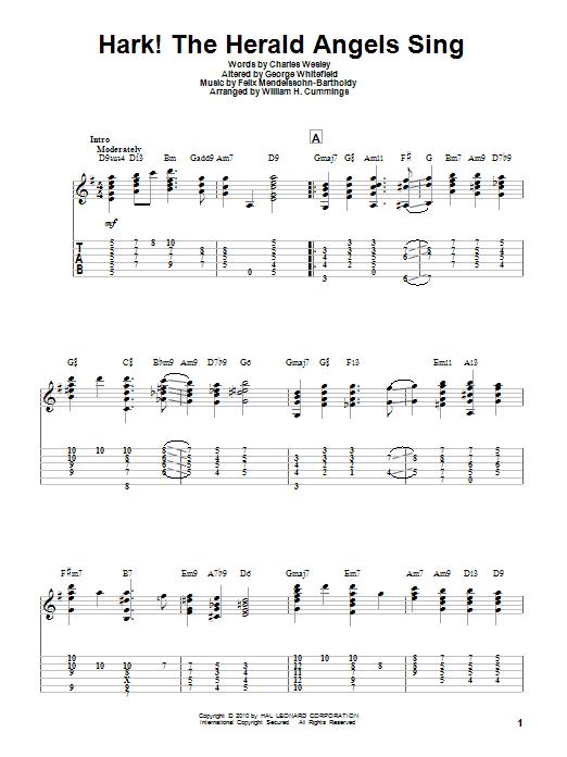 Tablature guitare Hark! The Herald Angels Sing de Charles Wesley - Tablature Guitare