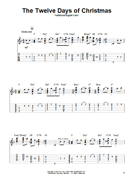 Tablature guitare The Twelve Days Of Christmas de Traditional English Carol - Tablature Guitare