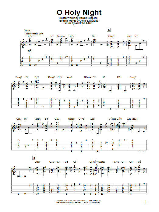 Tablature guitare O Holy Night de Adolphe Adam - Tablature Guitare