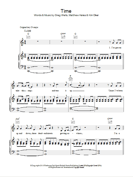 Time sheet music for voice, piano or guitar by Matthew Hales