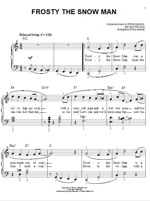Partition piano Frosty The Snow Man de Gene Autry - Piano Facile