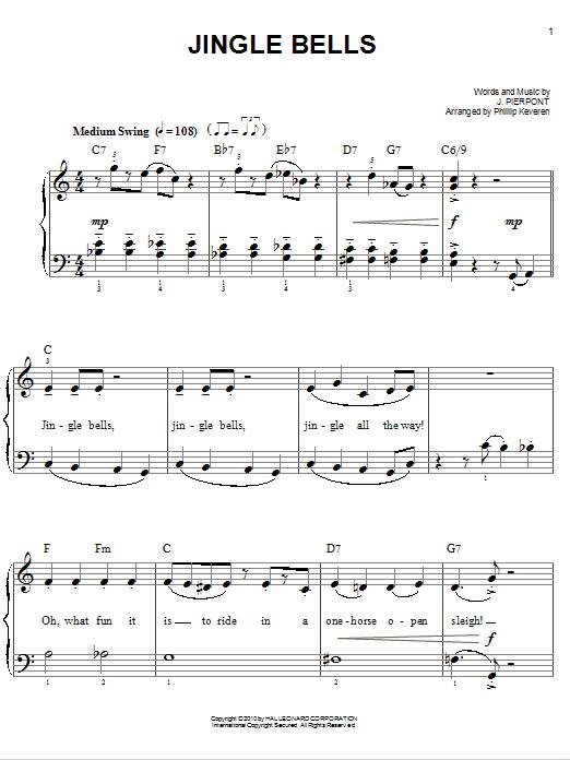 Partition piano Jingle Bells de J. Pierpont - Piano Facile