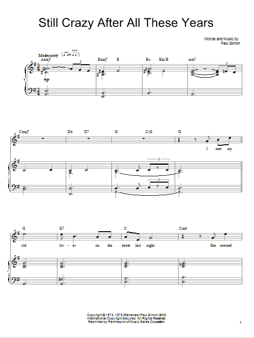 Sheet Music Digital Files To Print - Licensed Paul Simon Digital ...