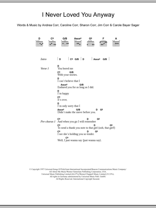 I Never Loved You Anyway sheet music for guitar solo (chords, lyrics, melody) by Sharon Corr