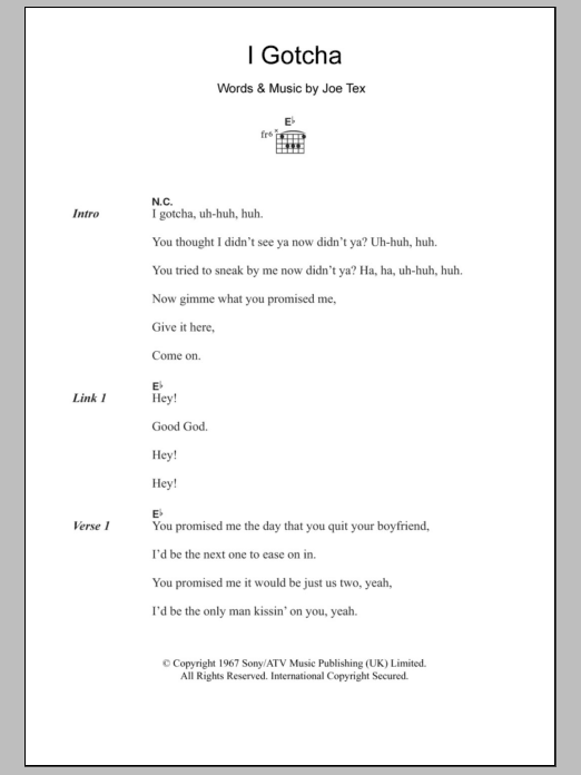I Gotcha sheet music for guitar solo (chords, lyrics, melody) by Joe Tex