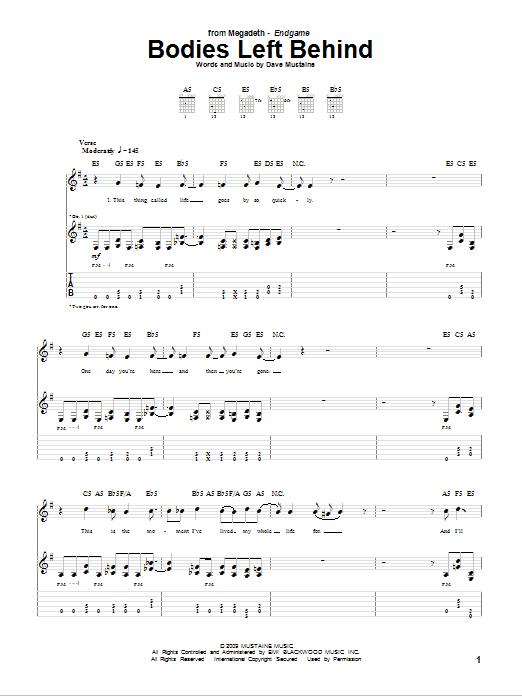 Tablature guitare Bodies Left Behind de Megadeth - Tablature Guitare