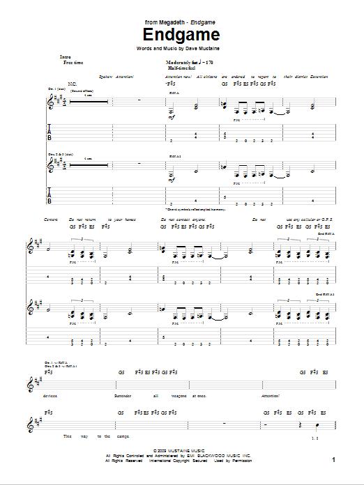 Tablature guitare Endgame de Megadeth - Tablature Guitare