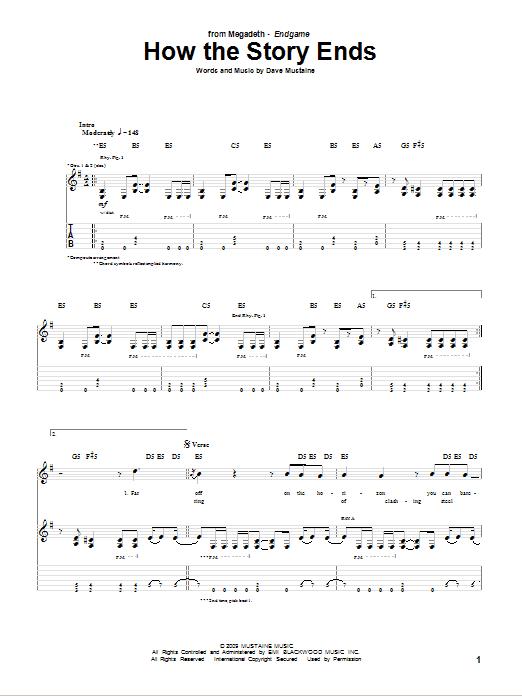 Tablature guitare How The Story Ends de Megadeth - Tablature Guitare