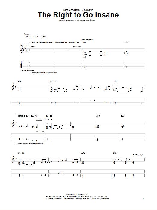 Tablature guitare The Right To Go Insane de Megadeth - Tablature Guitare