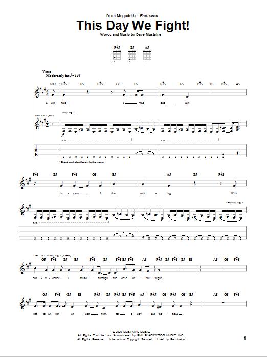 Tablature guitare This Day We Fight! de Megadeth - Tablature Guitare