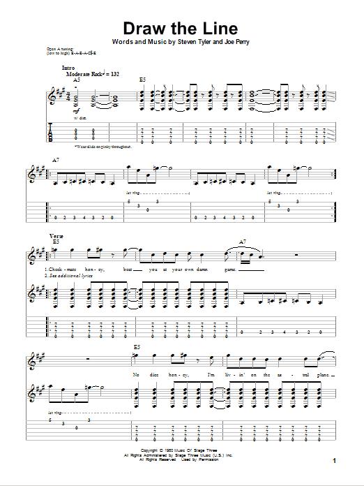 Tablature guitare Draw The Line de Aerosmith - Tablature Guitare