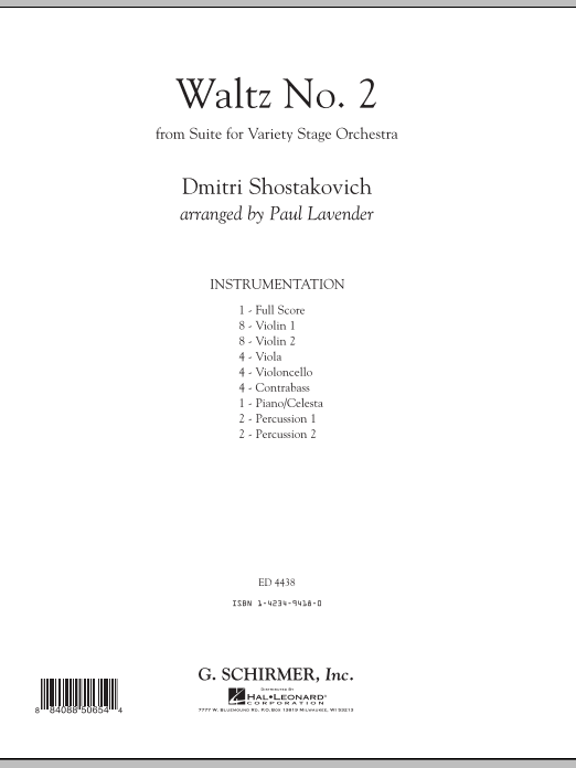 Waltz No. 2 sheet music for orchestra (full score) by Dmitri Shostakovich