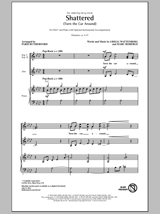 Shattered (Turn The Car Around) sheet music for choir and piano (SSA) by Gregg Wattenberg